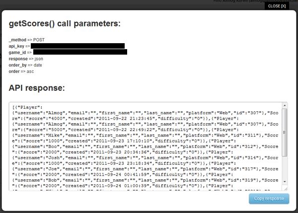 Get Scores API Response JSON