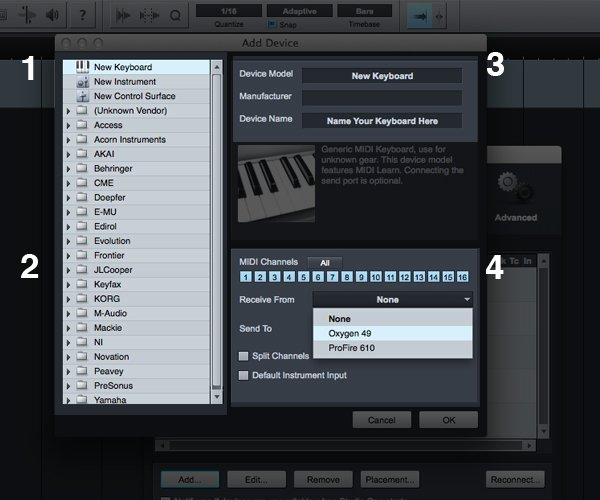 Use The Add Device Window To Add Your MIDI Controller To Be Used Inside Studio One