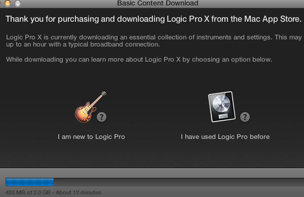 Logic Pro X First Launch Screen