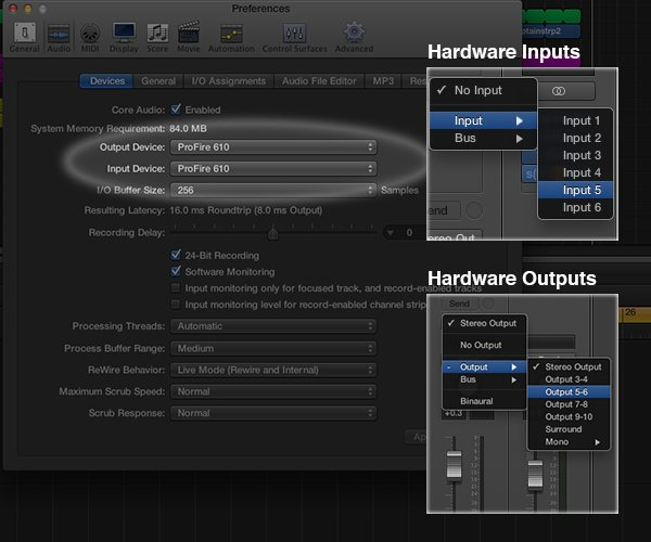 The audio interface you use will integrate into your DAW as the bridge between the sounds in the outside world and your computer when recording