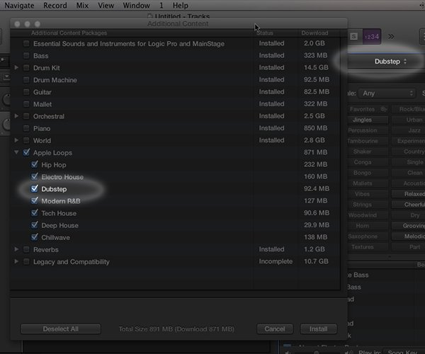 Logic Pro X will tell you that some of the sample libraries are not installed if you store them on an external hard drive but they are still available to use