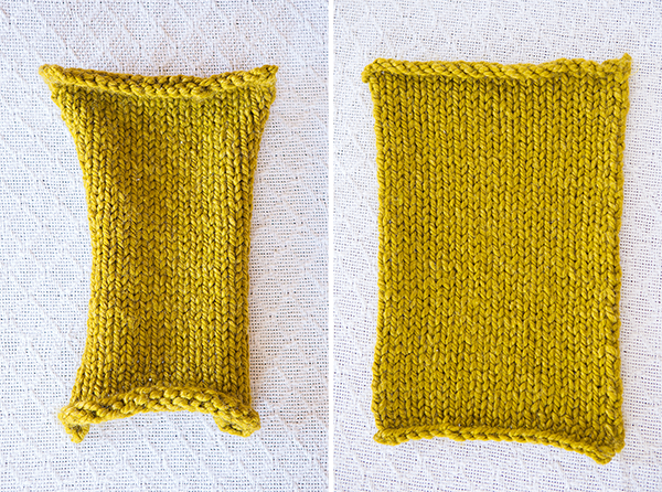 Block Knitting Before and After