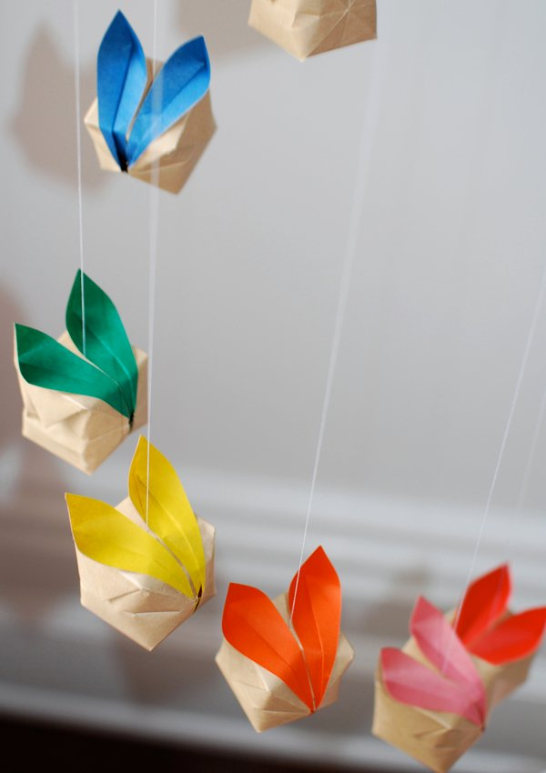 origami bunny mobile