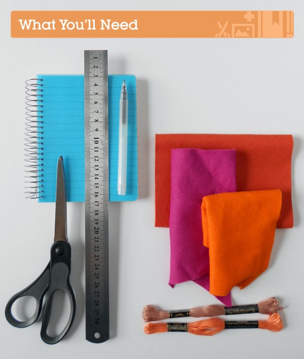 embroidered felt book cover supplies