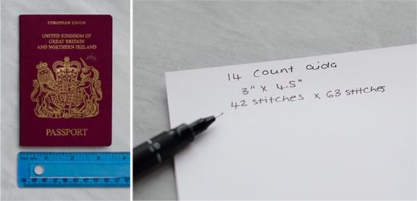 cross stitch passport cover step 1