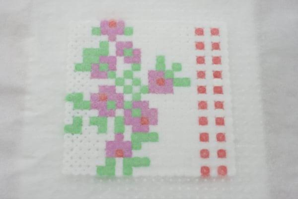 Vintage fabric Hama bead coasters