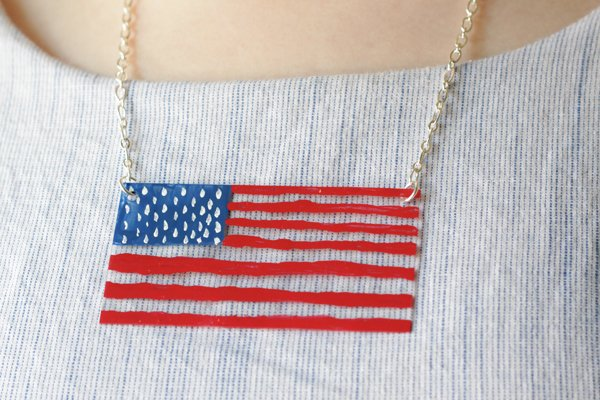Flag necklace tutorial 4th of July