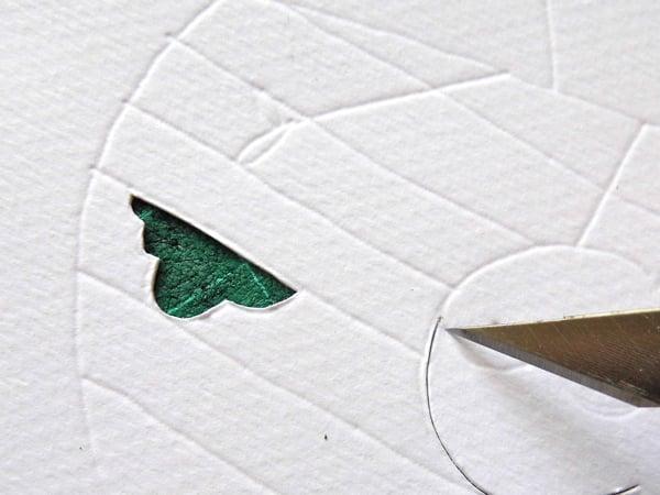 papercut bauble bird's forehead