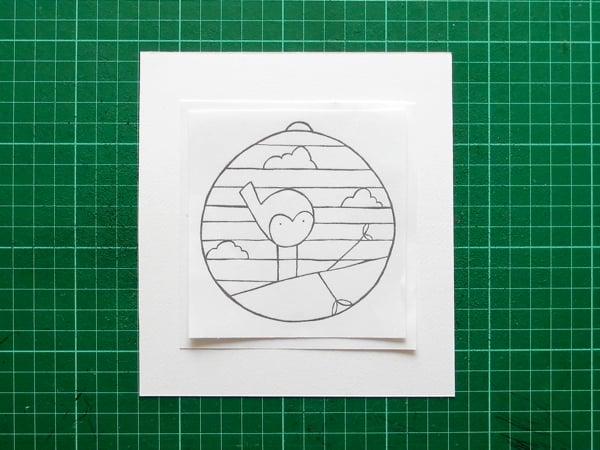 papercut baublelining up template