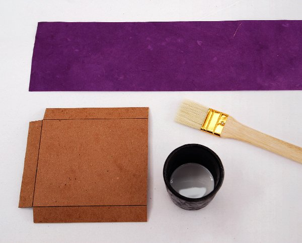 Grab your small tray small tray cover glue brush and glue