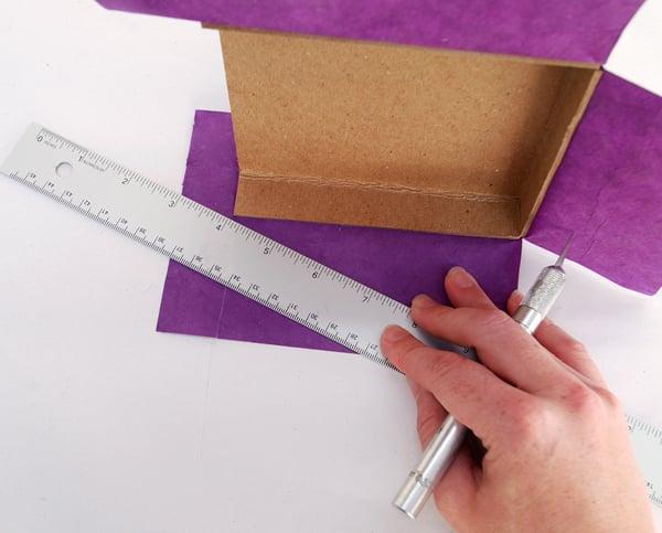 make a diagonal cut that is 02cm above the left corner
