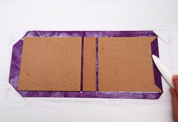 Fold the side flaps over and onto the case boards