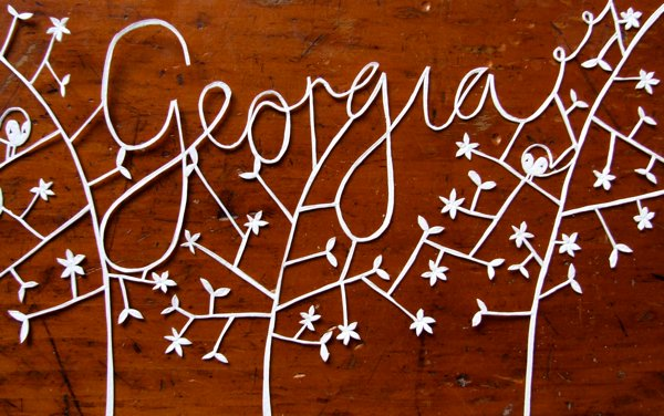 Name plate papercut by Robyn Wilson Owen via Tuts+