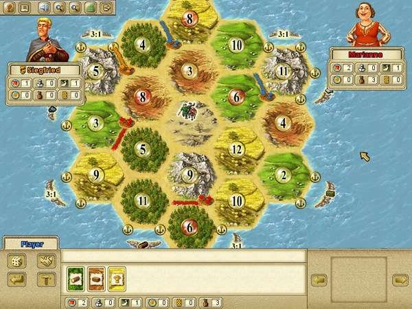 This is a screenshot from the popular Settlers of Catan Online a version of the game which can be played online in your browser for free