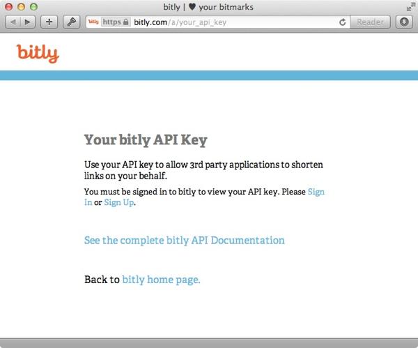 bit.ly API key request page