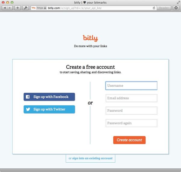 bit.ly developer account sign up