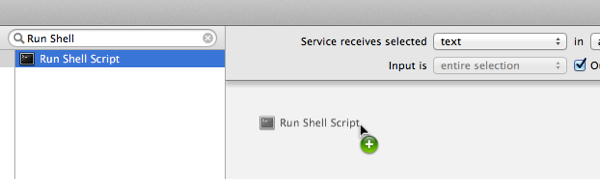 """Adding a new """"Run Shell Script"""" action to the workflow"""