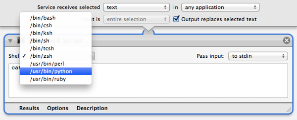 """Selecting Python as the scripting language for the """"Run Shell Script"""" action"""