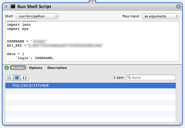 """Check the result of the test to make sure the """"Run Shell Script"""" action worked correctly and shortened the URL"""
