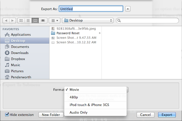 Exporting a screencast is limited to four formats.