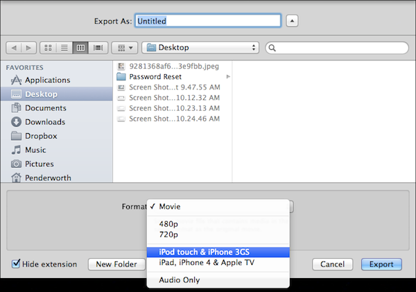 Exporting a video recorded in QuickTime includes more options.