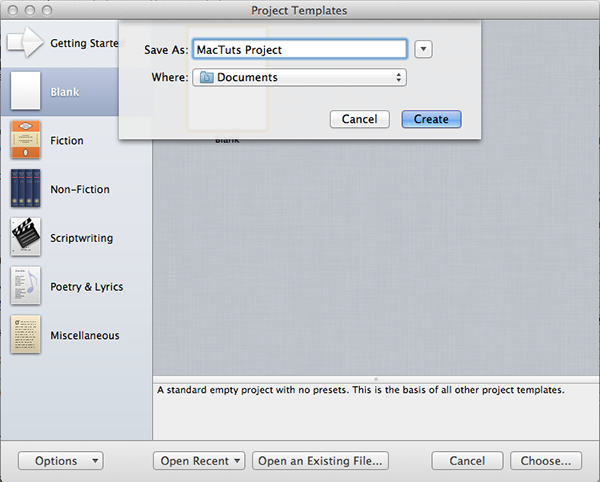 Choose a name for your project and save it on your Mac.