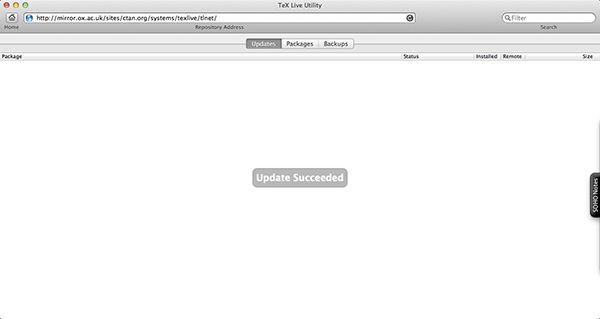 If you've installed all the available updates in the TeX Live Utility, then you should be presented with this screen.