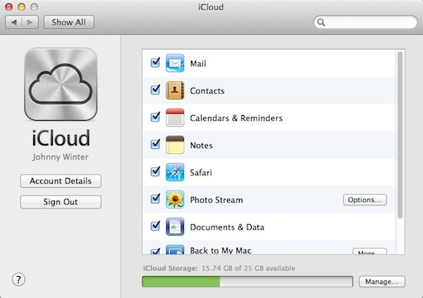 iCloud on your Mac.