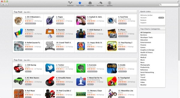 Just like in iTunes, apps are charted based upon their popularity