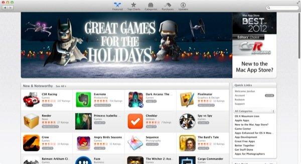The Mac App Store features a number of promoted apps