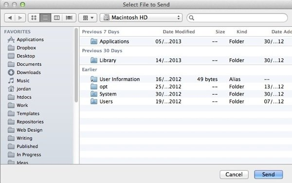 Bluetooth File Exchange is how OS X is able to send files to other Bluetooth devices