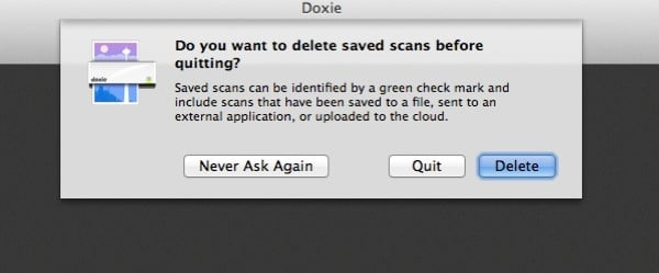 Doxie will prompt whether you want to clear out the temporary scans you've exported