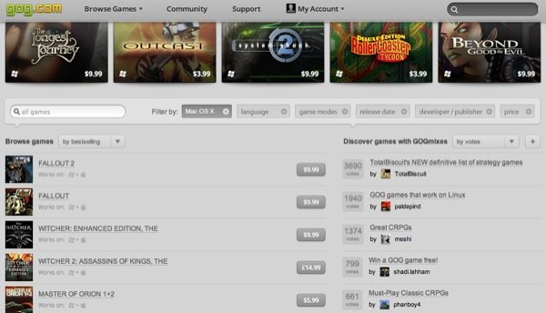 GOG provides older games from yesteryear