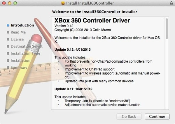 The Xbox 360 controller requires a little extra software so our Mac can properly communicate with it