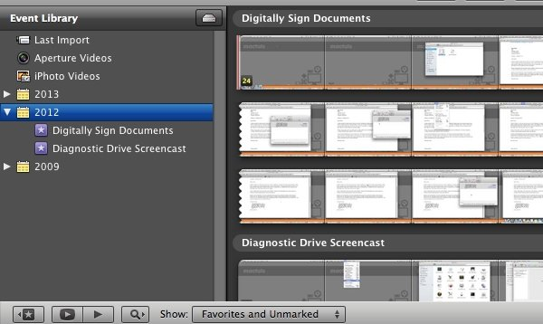 iMovie '11 can be toggled to show all hard drives or only those with events stored on them by clicking the HD icon