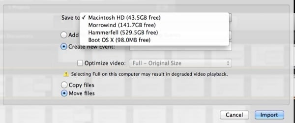 You can import footage directly to iMovie but store it on an external drive without needing to move it