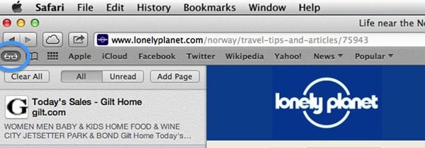 Click the Glasses icon in the Bookmarks Bar to access your Reading List