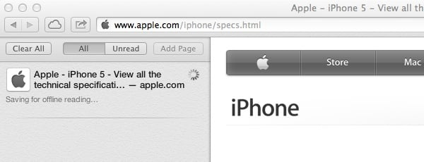 Safari automatically caches pages saved to your Reading List
