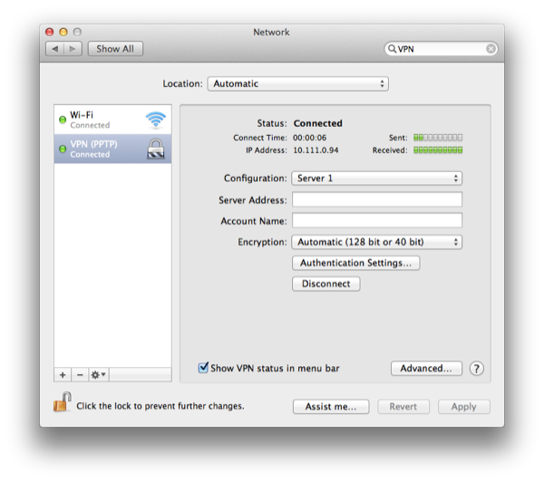 System Preferences will also display connection details such as IP address and time connected