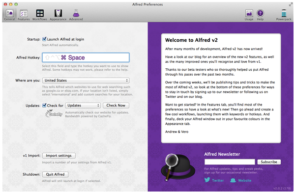 Alfred app General Preferences