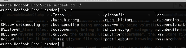 Visible hidden files while listing in terminal