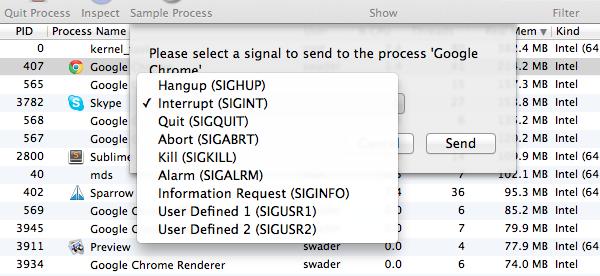 The send signal menu