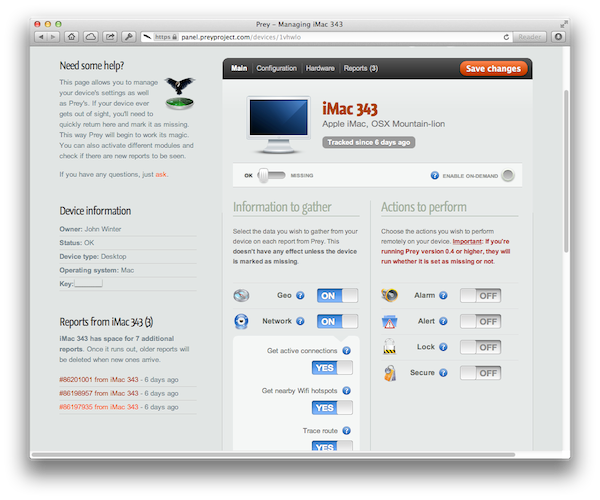 The PreyProject online control panel