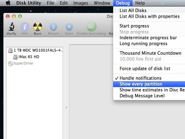Revealing the Debug Menu in Disk Utility