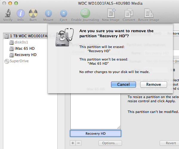 Deleting the Recovery Partition