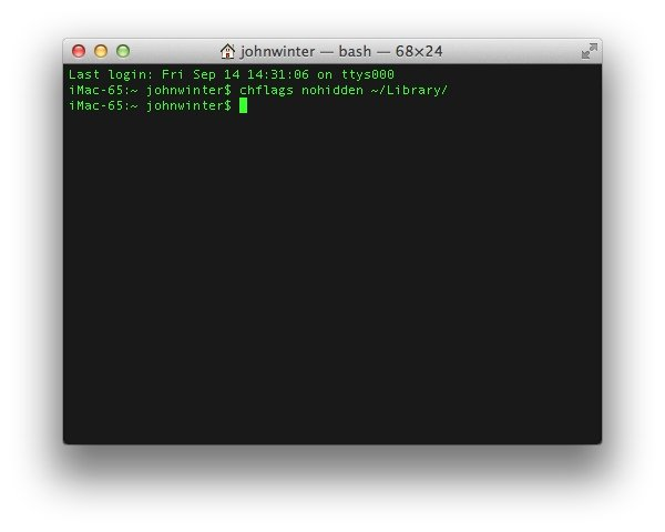 Using Terminal App to Reveal the Library Folder
