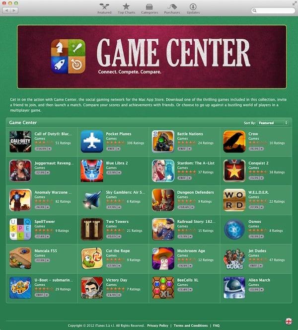 Mac App Store Game Center games
