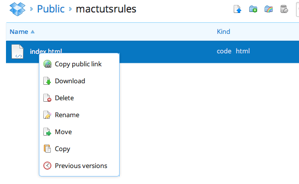 Step 4: Visit Dropbox and log-in. Go to your Public folder and then into your mactutsrules folder, followed by right-clicking on the index.html file.
