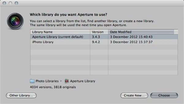 Aperture will display a message to ask you choose a library click Other Library