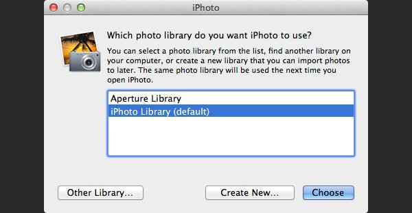 iPhoto will display a message to ask you choose a library click Other Library